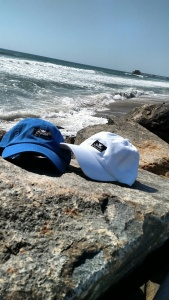 polo hats on beach